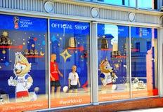 Facade of official FIFA World Cup 2018 shop, Moscow Stock Photo