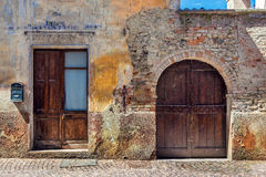 Facade of old abandoned house in Italy. Royalty Free Stock Photo