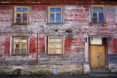 Facade of an old abandoned wooden house Royalty Free Stock Photos
