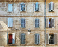 The facade of an old apartment building in the historic center o Stock Photo