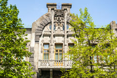 Facade of an old apartment house with a balcony in a Art Nouveau style in Kiev Royalty Free Stock Photo