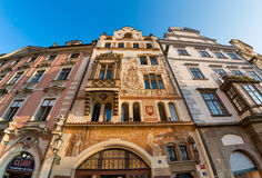 Facade of old buidlings at Town Square (Staromestske Namesti). P Royalty Free Stock Photo
