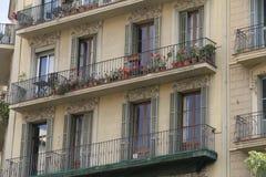 Facade of old building in barcelona, spain Stock Photo