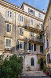 Facade of an old building in Corfu island, Greece Stock Photos