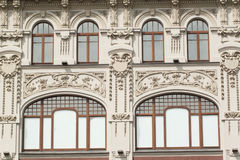 The facade of an old building with floral fretwork Royalty Free Stock Photography