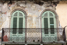 Facade of an old building at Piazza della Erbe in Verona. Stock Image