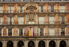 Facade of old building on Plaza Mayor Royalty Free Stock Photos