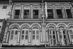 The facade of old buildings in Chinatown, Singapore Royalty Free Stock Photography
