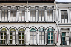 Facade of old buildings in Singapore Stock Photo