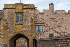 Facade of an old castle. On this facade I found interesting the location of windows and the masonry type Royalty Free Stock Photos
