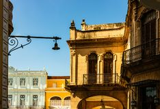 Facade of old colonial buildings from Central Square in Havana, Cuba.  stock image