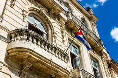 Facade of old colonial buildings from Central Square in Havana, Cuba.  stock photo