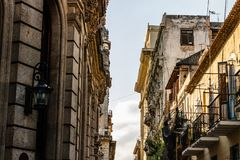 Facade of old colonial buildings in Havana, Cuba.  royalty free stock photography