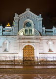 Facade of an old colonial church. In Cuenca, Ecuador, at nightime Royalty Free Stock Images