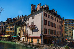 Facade of old and colorful buildings facing the canal in Annecy,. Annecy, France - June 28, 2016. Facade of old and colorful buildings facing the canal, city Stock Photos