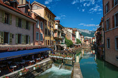 Facade of old and colorful buildings facing the canal in Annecy. Annecy, France - June 30, 2016. Facade of old and colorful buildings facing the canal, in the Royalty Free Stock Photo