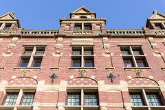 Facade old Dutch brick stone manion of the Hague Royalty Free Stock Photo