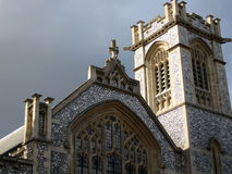Facade of old English church Stock Photos