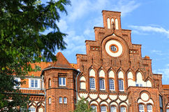 Facade of old German residential house in Lubeck Royalty Free Stock Image