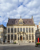Facade of old Guilde house at the market place in Bremen stock photos