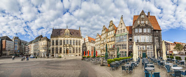 Facade of old Guilde houses and historic half timbered houses stock photos