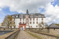 Facade of historic castle in Idstein, Germany. Facade of old historic castle in Idstein, Germany Royalty Free Stock Photography
