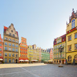 Facade of old houses, Wroclaw. Facade of old historic houses on market square, Wroclaw, Poland stock image