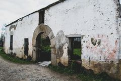 Facade of old hospital abandoned in the village stock image