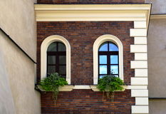 Facade of an old house with arc windows. And overgrown with flowers Royalty Free Stock Photos
