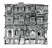 Facade of old house with balconies in Jodhpur, India Royalty Free Stock Photos
