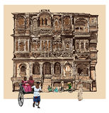 Facade of old house with balconies in Jodhpur, India Stock Photos