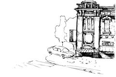 Facade of the old house and car. Black and white vector sketch of the facade of the old house and car Royalty Free Stock Photography