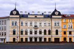 The facade of the old house. A characteristic monument of archit Stock Images