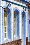 Facade of old house in colonial style. In blue and white colors in the city of Ouro Preto, Minas Gerais Royalty Free Stock Image