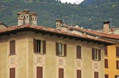 Facade of old house in Como. Italy Stock Photography