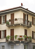 Facade of old house in Como. Italy Stock Images