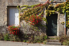 Facade of an old house, with flowers. Facade of an old stone house, decorated with flowers Royalty Free Stock Photography