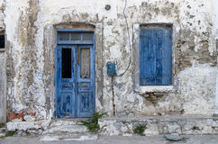 Facade of an old house in Kythnos island, Cyclades, Greece Stock Photos