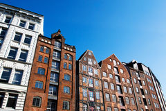 Facade of the old houses against blue sky Royalty Free Stock Photography