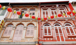The facade of old houses in Penang, Malaysia Royalty Free Stock Images