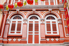 The facade of old houses in Singapore Royalty Free Stock Photography