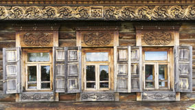 Facade of the old log house in the museum of wooden architecture Royalty Free Stock Images