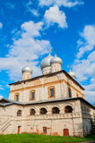 Facade of old Orthodox cathedral of Our Lady of the Sign in Veliky Novgorod, Russia. Facade of old Russian Orthodox cathedral of Our Lady of the Sign in Veliky Royalty Free Stock Photo