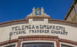 Facade of an old printing company in Franeker Stock Photo