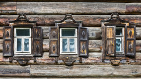 Facade of the old Russian house Royalty Free Stock Images