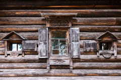 Facade of the old Russian house Royalty Free Stock Image