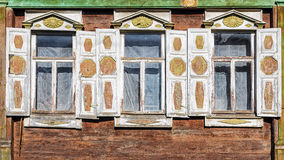 Facade of the old Russian wooden house built in 1846. Facade of the old Russian wooden house built in 1846 Stock Photos