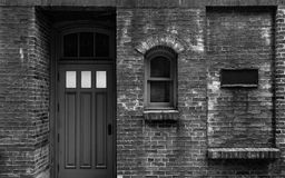 Facade of an old shop. In black and white Stock Photography