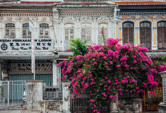 Facade of the old shophouse building, George Town, Penang, Malay Stock Photos