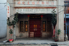 Facade of the old shophouse building, Penang, Malaysia Royalty Free Stock Images